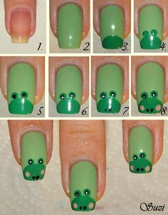 Frog Nail Design -photo  tutorial (looks more like an Angry Birds pig though)
