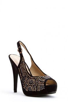 """Faux Suede Studded Sling back Platform High Heels- Gold & Silver studs, 5"""" heel, 1"""" platform. Was $42, Now $21 at Punkyfish.com"""