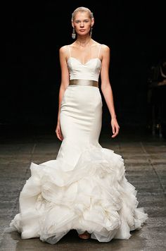 Gold belted wedding dress from Lazaro, Spring 2013