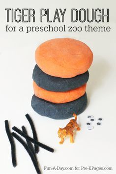 Tiger Play Dough Zoo Theme Activity: Tiger Play Dough<br> Zoo theme tiger play dough activity for learning and fun in your preschool, pre-k, and kindergarten. Jungle Theme Activities, Dear Zoo Activities, Preschool Zoo Theme, Jungle Crafts, Zoo Crafts, Eyfs Activities, Nursery Activities, Playdough Activities, Tiger Crafts