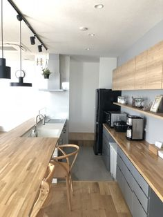 \ my home diary /さん( Kitchen Interior, Interior Design Living Room, Kitchen Dining, Kitchen Decor, Diy Kitchen Storage, Simple House, Home Renovation, Cool Kitchens, House Rooms