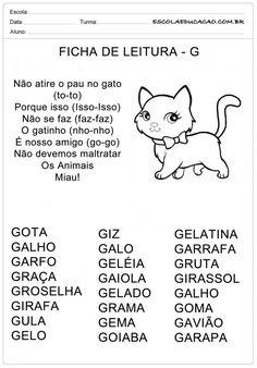 Ficha de Leitura Letra G - Gato Portuguese Lessons, Learn Portuguese, Zen, Myla, Spanish Class, Educational Activities, Professor, Homeschool, Classroom