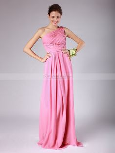 One Shoulder Column Chiffon Bridesmaid Dress with Pleats 0114016