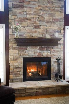 Stone Veneer Fireplace | stone veneer fireplace from brick | For the Home