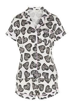 Lace Heart Shortie Pj Set. Size medium
