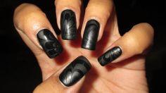 Black on Black, Glossy/Matte Water Marble #nail #nails #nailart