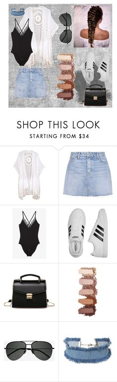 """""""Denim Skirt Vibes"""" by lilmainella on Polyvore featuring GRLFRND, Monki, adidas, Yves Saint Laurent and DANNIJO"""