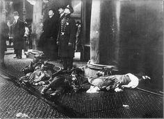 Jumpers from the burning building during the Triangle Shirtwaist Factory Fire
