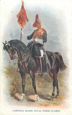 British; Royal Horse Guards, Corporal Major with Oilette Postcard