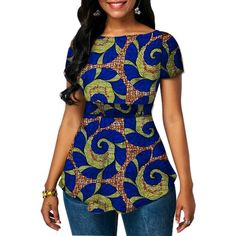 Designs Festive Ankara Women Short Sleeve Tops - Lynne & Trends Casual Wedding Dresses These days, t Latest Ankara Dresses, African Wear Dresses, Ankara Dress Styles, Latest African Fashion Dresses, African Attire, Ankara Tops Blouses, African Blouses, Ankara Blouse, African Print Shirt