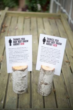 Leave some fun facts about the bride and groom on each table so guests can get to know you better. There's probably some quirky little secrets that no one knows about! It's personal and creative, a perfect addition to your centrepiece.