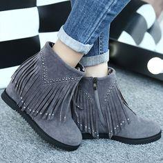 Increased Crystal Tassels Short Boots