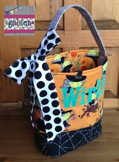 Personalized Halloween Trick or Treat Fabric Bag, Candy Bucket with bow, Witch and Webs by goldenSewCute on Etsy