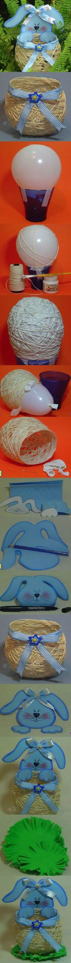 DIY Yarn String Easter Basket 2 by pat-75