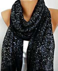 I have a scarf just like this... why does it look so much better on her than me!? Galaxy Scarf Shawl Scarf  Cowl Scarf Gift fatwoman by anils, $15.00