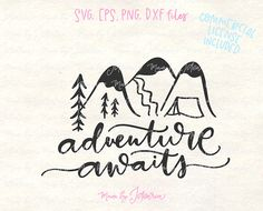 This camper svg files featuring a saying Adventure awaits would make a cute camping t-shirt to wear all summer long. #adventureawaitssvg #svgfiles #campingsvg