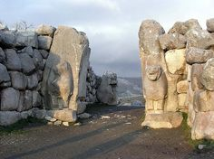 The Hittite lions just look like the present lions (lion gate) at the Bronze age Etruscan colony Mycaenae....Hattusa, Boğazkale, Turkey