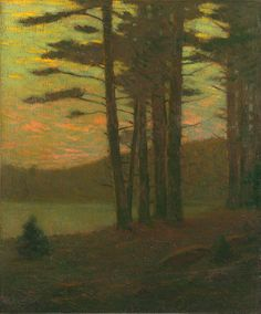 Charles Warren Eaton  Sunset in the Pines, ca. 1900-10  (Oil on canvas, 24-1/8 x 20-1/8 inches)  Spanierman Gallery, NYC