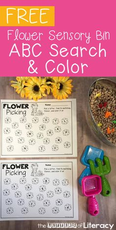 Practice the letters of the alphabet with your Preschooler or Kindergartener with this fun flower garden sensory bin with free alphabet printables! Gardening Flower Garden Sensory Bin with Alphabet Printables Preschool Garden, Free Preschool, Spring Preschool Theme, Preschool Centers, Alphabet Activities, Literacy Activities, Literacy Stations, Literacy Centers, Teaching Resources