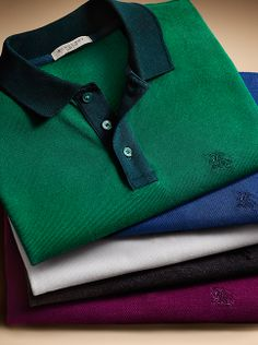 Colour-contrast polo shirts from the Burberry menswear collection.