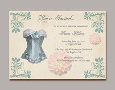 lingerie shower invite - love the lacy/classy lingerie on here
