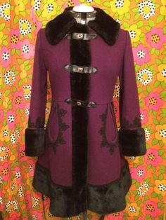 Vintage 1960s Wool Embroidered Coat With Faux Fur Collar S M by ShermerHighVintage on Etsy https://www.etsy.com/listing/226847404/vintage-1960s-wool-embroidered-coat-with