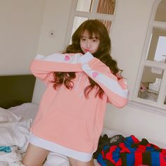 Mori Girl Clothing Pullover on Mori Girl の森ガール.Harajuku Pink Heart Embroid Pullover Japanese Cute Hoodie Mg403 catches up with the cute style.Get yourself ready to look fashion and keep out the cold on wearing it in the autumn or winter.Don't miss it.