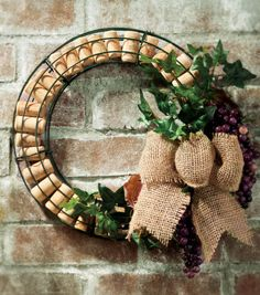 The recycled wine corks and grapes work great together in this wreath! Would make a great gift for a wine lover!