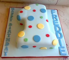 Spotty cake, shaped as 1