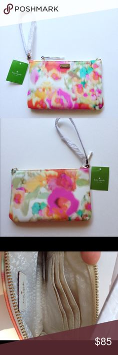 Kate Spade Lolly Floral Wristlet! NWT Lovely light floral print on a grainy leather textured wristlet. Size is 8 inches by 5 inches and strap is 13.5 inches. Perfect for any season! kate spade Bags Clutches & Wristlets