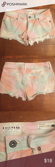 Cute and Colorful! Pastel Bullhead Frayed Shorts! Awesome and cool mint and pink pastel Bullhead denim shorts! Great condition! It reads size 3 which translates to size 25 Bullhead Shorts Jean Shorts