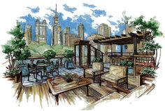 Unique architecture sketch wallpaper dixon house a baihusi com landscape design sketches architectural designs concepts newinteriorhome Architecture Design Concept, Landscape Architecture Drawing, Landscape Sketch, Unique Architecture, Landscape Drawings, Landscape Design, Architecture Sketches, Landscape Architects, Park Landscape