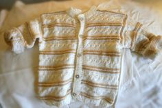 2T Beige and White Sweater Unisex by BaubleandBain on Etsy, $35.00