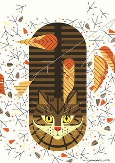 """Purrfectly Perched  is part of """"Charley Harper's Animal Kingdom: A Portfolio of Prints"""""""