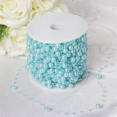 62 FT Serenity Blue Pearl Garland String for Wedding Bridal Corsages Decorations Blue Wedding Decorations, Party Decoration, Centerpiece Decorations, Pearl Decorations, Pearl Garland, Beaded Garland, Baby Blue Weddings, Bouquet Wrap, Clear Glass Vases