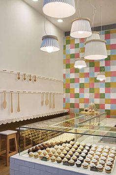 Joy Cupcakes Cake Shop Design by MIM Design - Shop Design Gallery Cupcake Shop Interior, Pastry Shop Interior, Bakery Interior, Retail Interior, Restaurant Interior Design, Shop Interior Design, Retail Design, Cake Shop Design, Bakery Design