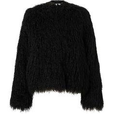 Samsoe & Samsoe Sophia Faux Fur Jacket, Black (€235) ❤ liked on Polyvore featuring outerwear, jackets, tops, coats, long jacket, faux fur short jacket, pattern jacket, faux fur jacket and fake fur jacket