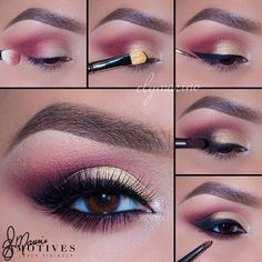 Maroon And Gold Eye Makeup Pictorial. Gold Eye Makeup, Eye Makeup Steps, Makeup For Brown Eyes, Love Makeup, Makeup Inspo, Makeup Trends, Eyeshadow Makeup, Makeup Inspiration, Motives Makeup