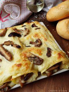 Cannelloni con funghi e taleggio Veggie Recipes, Gourmet Recipes, Vegetarian Recipes, Healthy Recipes, Veggie Food, Parmesan Pasta, Taleggio, Fusilli, Vegetarian Cheese