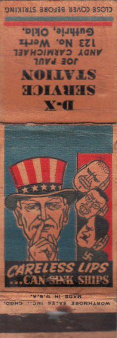 Vintage WWII Era Military Matchbook D x Service Station Guthrie Uncle Sam Hitler | eBay
