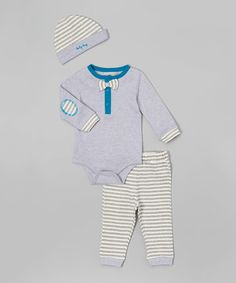 Another great find on #zulily! Gray Bow Tie Bodysuit Set - Infant #zulilyfinds