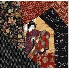 Japanese Embroidery Designs I just realized I did not show you the Crazy Quilt block number three. Isn't this a nice print in the centre.A Japanese lady holding up . Japanese Quilt Patterns, Japanese Patchwork, Crazy Patchwork, Quilt Block Patterns, Pattern Blocks, Japanese Fabric, Japanese Textiles, Patchwork Patterns, Quilting Projects
