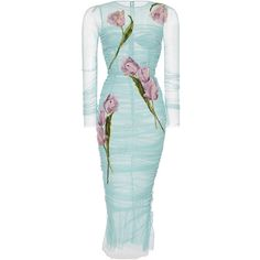 Dolce & Gabbana Tulip Printed Bodycon Dress ($7,395) via Polyvore featuring dresses, платья, sheer bodycon dress, transparent dress, ruched dress, dolce gabbana dresses and sheer dress