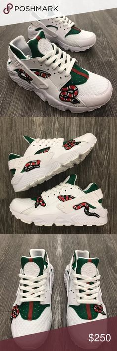 "Nike ""Gucci Snake"" White Huarache GUCCI SNAKE Huarache- ALL SIZES- these are not my own pics I don't not take credit for this custom- I would like to do this custom on a pair of Huaraches- 1-2 week after purchase to finish the custom- check out my closet to see my custom work. More on my Instagram @LL_JAYY Nike Shoes Sneakers"