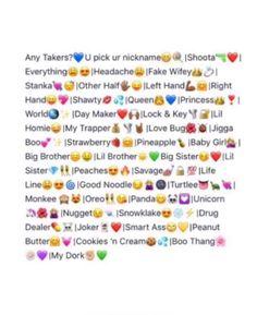 Image of: Insta Snapchat Nicknames Cute Nicknames Snapchat Names Nicknames For Bestfriends Cute Emoji Combinations Pinterest Snapchat Titles Snapchat Titles