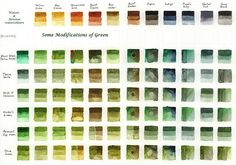 watercolor mixing chart - greens with dilution values   #water, #chart