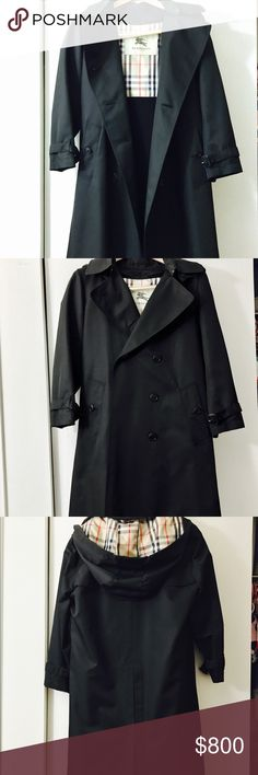 Authentic BURBERRY Trench Coat LIKE NEW! Excellent condition! Women's Burberry Trench Coat with detachable hood and detachable wool interior, Color: Black, Size 6R Burberry Jackets & Coats Trench Coats