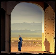 """""""In the early morning I spotted this guard at the gate of our Kasbah hotel in Boumaine."""" Morocco Taken by scrabble on flickr."""