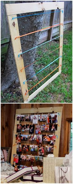 DIY - Wooden Framed Picture Display Paint the frame maybe use wire in place of string........