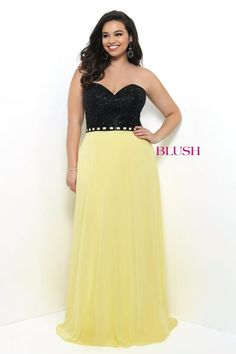 d65321fccc9 This striking and strapless Blush Prom Plus Size prom dress stuns in chiffon  with an intricately beaded bodice and sweetheart neckline. Facchianos Bridal